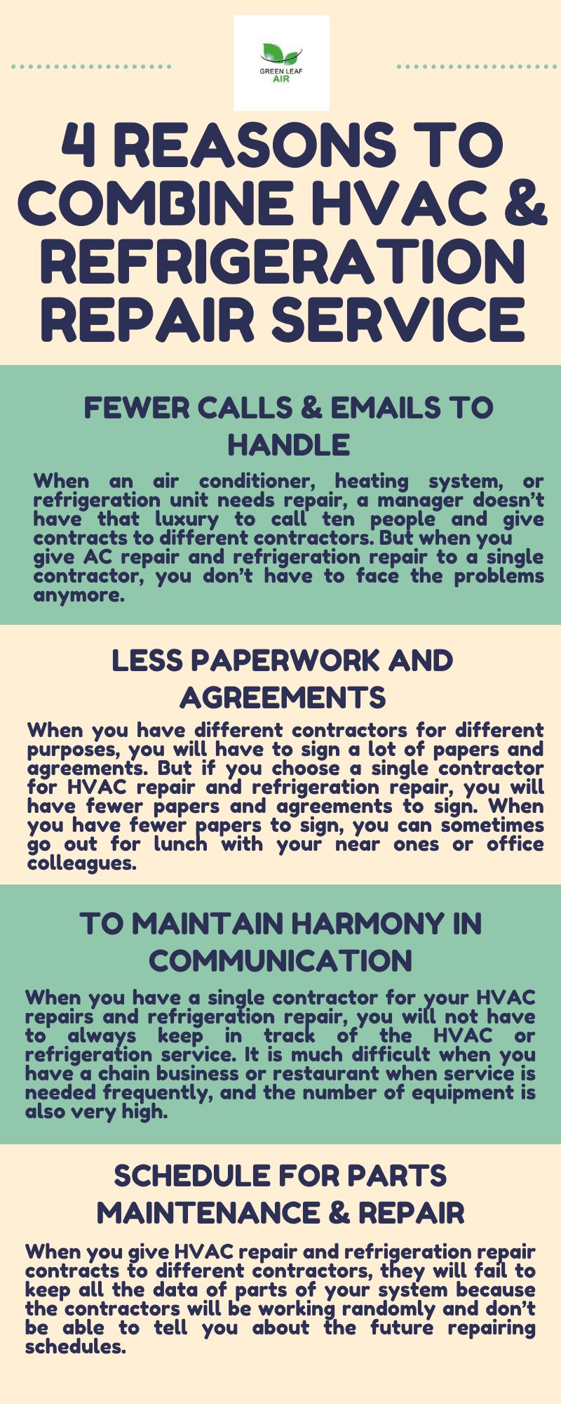 4 Reasons to Combine HVAC & Refrigeration Repair Service